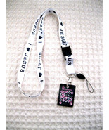 """White I Love Jesus with Black Letters 15"""" lanyard for ID Holder mobile d... - $4.94"""