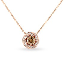 1.13Cts Champagne Diamond Halo Pendant Necklace Set in 14K  Rose Gold GI... - $3,326.40