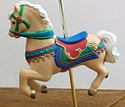 Tan Carrousel Horse Christmas Tree Ornament Hard Plastic Ex Condition - $8.66