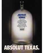 ABSOLUT TEXAS Vodka Magazine Ad NOT COMMON! - $11.99