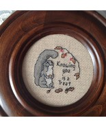 "Needlepoint handmade Round Vintage Stitched 7.5"" Framed Knowing You Is a... - $23.16"