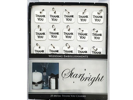 Starbright Silver Thank You Charms, 25 Pieces