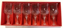 Set of 6 Cristal d'Arques Longchamp Footed Goblets 24% Lead Crystal NIB - $78.39