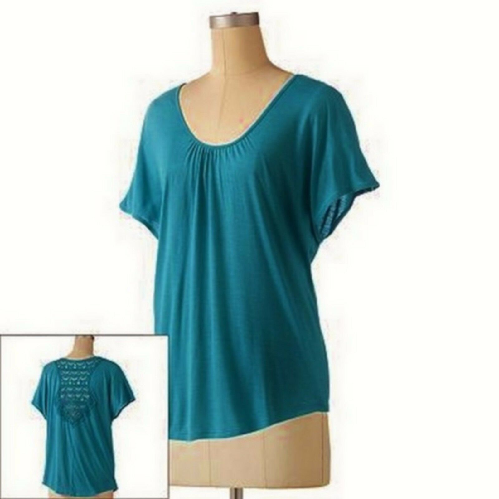 Primary image for LC Lauren Conrad Teal Crochet Back Knit Tee Tank Top Beyond The Waves