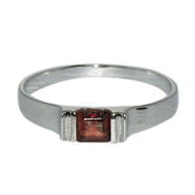 Square Cut Garnet Gemstone 925 Silver Solitaire Stacking Band Women Wedd... - $16.67