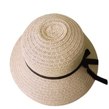Foldable ladies women straw beach sun summer hat beige wide brim breathable cap outdoor thumb200