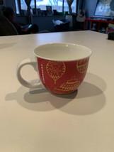 Starbucks 2015 Coffee Mug Cup Red Gold Christmas Ornament Collectible 14oz - $9.89