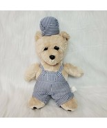 """14"""" Born Aviation Bear Train Conductor Cream In Overalls Plush Stuffed T... - $24.99"""