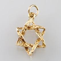 14K Yellow Gold Textured Star of David Judaica Pendant - $160.38