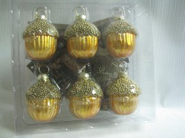 6   Acorn  Ornaments Place Card Holders Boxed Glass Beaded Bethany Lowe - £18.77 GBP