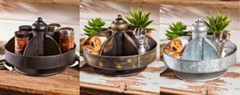 Lazy Susan Style Revolving Kitchen Counter-top Storage Black Bronze Galv... - $31.99