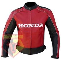 HONDA 5523 RED MOTORCYCLE MOTORBIKE ARMOURED COWHIDE LEATHER JACKET FOR MEN - $194.99