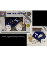 Texas Rangers MLB Baby Push & Pull Real Wood Toy Cotton String Baseball ... - $10.99