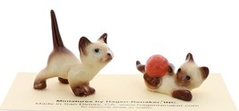 Hagen-Renaker Miniature Cat Figurine Siamese Kittens 2 Piece Set Chocolate Point