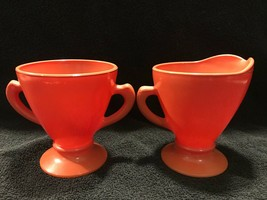 Hazel Atlas Burnt Orange Ovide Platonite Creamer and Sugar Set - $12.00