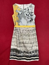 Elie Tahari Gray And Yellow Print Dress Size 8 Stretch Cotton Womens - $51.48