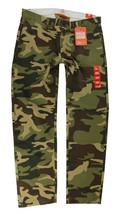 NEW DOCKERS MEN'S SLIM FIT TAPERED COTTON CARGO PANTS GREEN CAMOUFLAGE 499310027