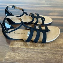 Women's American Eagle Black Strappy Flats 7.5 Preowned - $16.82