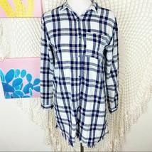 Zara girl blue plaid fringe bottom button up shirt dress big girl 13/14 - $9.90