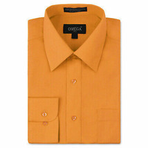 Omega Italy Men's Long Sleeve Orange Regular Fit Button Up Dress Shirt - 2XL