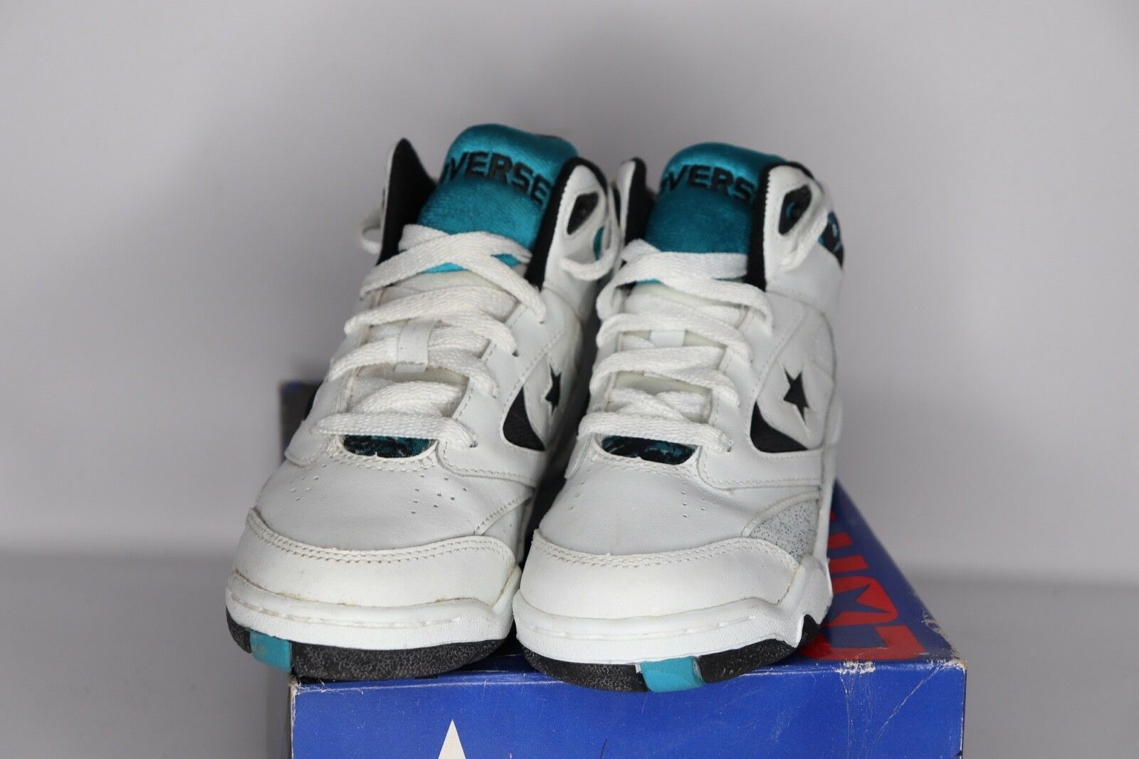 Vintage 90s New Converse Youth 3 Power Game Lea Mid Basketball Shoes White Teal