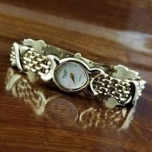 New Women's ELGIN Swiss Gold TN Oval XOXO Link Bracelet Watch MOP Dial - $79.95