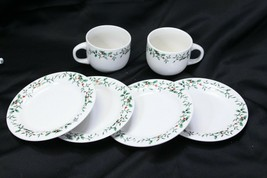 Royal Seasons Holly Xmas Bread Plates and Cups Lot of 6 - $29.39