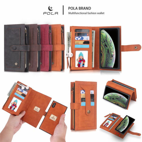 Wallet Zipper Card Slot Case & 2 in 1 Magnetic Car Cover for iPhone XR XS Max