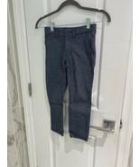 Cat & Jack Boys Chambray Blue Check Dress Pants Adjustable Waist Size 6 - $9.73
