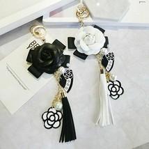 Camellia Keychain PU Leather Tassels Black White Flower Keyring Purse Ke... - $6.99