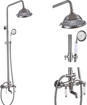 Brushed Nikcel Shower Faucet 8-Inch Shower Head Fixture With Handheld Sp... - $198.98