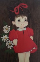 "Vtg Wood Painted Wall Plaque Childrens Kids Room Decor Girl Flowers 13"" ... - $19.79"