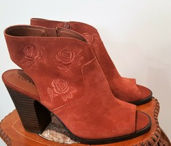 NEW Lucky Brand Listana Suede Embroidered Shootie Red Oak 9.5M MSRP $119 - $34.00