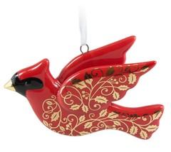 Christmas Cardinal 2016 Hallmark Ornament Porcelain Red Gold Bird - $49.45
