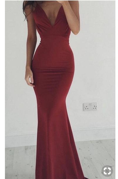 9swd2i l 610x610 dress red dress long silk plunging red dress mermaid dress