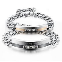 Men's Women's Stainless Steel Bracelet CZ Love Promise Couple Bangle - $22.50+