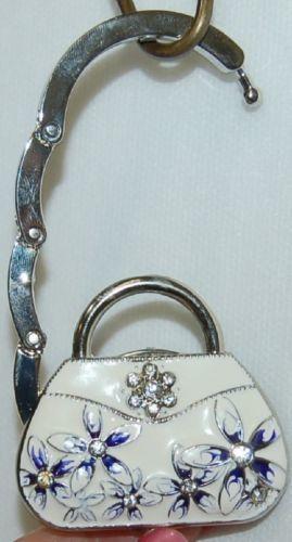 Magnetic Collapsable Handbag Shaped Purse Holder Silver Blue White Rhinestone