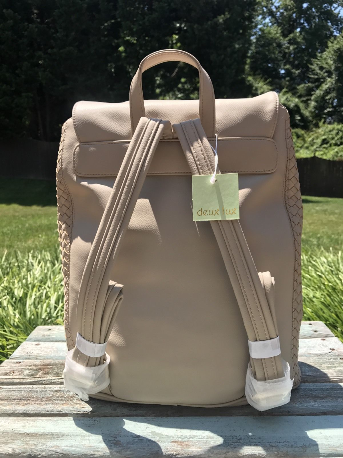 Deux Lux Luxury Bowery Backpack Camel/Off-White/Cream $130 NEW with tags NWT image 2