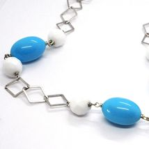 Silver necklace 925, Balls, White Agate Faceted Turquoise Oval, Pendant image 5