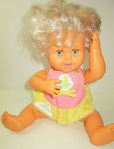 "Vintage 1973 Ideal Rub A Dub Dolly 16"" Baby Doll Original Clothes Pink Yellow - $18.50"