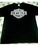 Seattle Washington EST.1853-Black-Harley Davidson Emblem Spin Off-T Shir... - $8.99