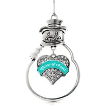 Inspired Silver Teal Matron Pave Heart Snowman Holiday Decoration Christmas Tree - $14.69