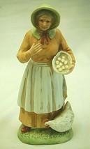 "Woman Country Farmer Hen Bisque Figurine Shelf Decor Homco 1426 8"" Tall - $26.72"