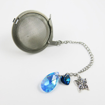 Aquamarine butterfly and crystal  tea infuser - $14.00