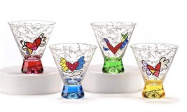 Romero Britto Set of 4 - 5.8 oz  Short Martini Glasses - Flying Hearts Design