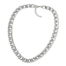 """Stainless Steel Curb Bracelet for Women Necklace Jewelry Set 24"""" Hypoallergenic  image 2"""