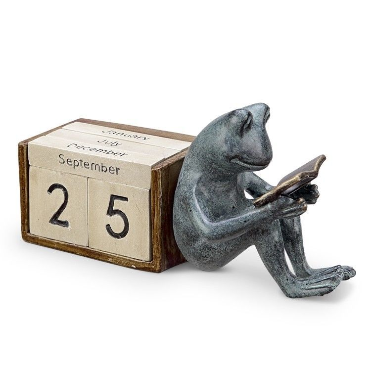 Aluminum/Resin Reading Frog Desktop Calendar 9'' x 4.5''H.