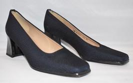STUART WEITZMAN Textured Jacquard Fabric Heels Black Square Toe SZ 7 1/2... - $47.24