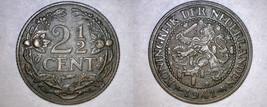 1941 Netherlands 2 1/2 Cent World Coin - $11.99