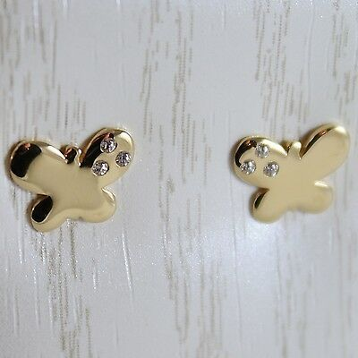 18K YELLOW GOLD EARRINGS MINI BUTTERFLY, ZIRCONIA FOR KIDS CHILD, MADE IN ITALY